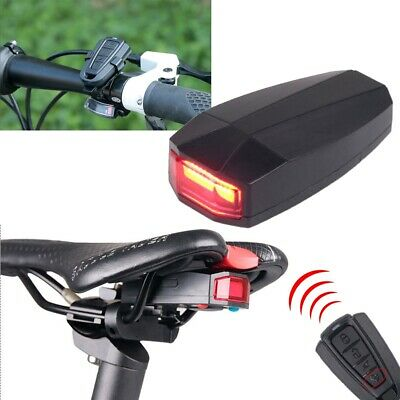 Bicycle Bike 4 In 1 Security Lock Alarm LED Tail Light Anti-theft Remote Control • 16.80£