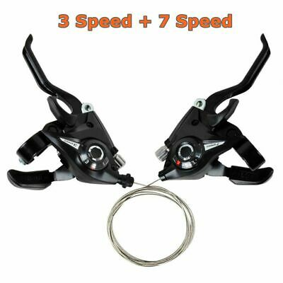 2Pcs Bicycle Mountain Bike Brake Gear Shifters Lever Transmission 3 + 7 Speed • 10.99£