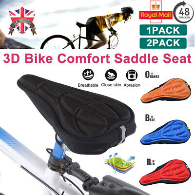 Cycling Bike Silicone 3D Gel Saddle Seat Cover Pad Padded Soft Cushion Comfort • 4.89£