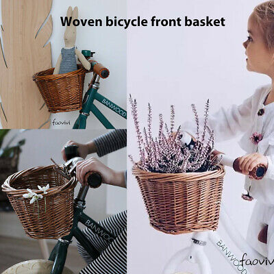 Vintage Wicker Bicycle Basket For Childrens Kids Boys Girls Bike Cycle Shopping • 8.99£