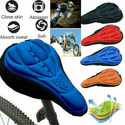 Bike Bicycle 3D Gel Silicone Saddle Seat Cover Pad Padded Soft Cushion Comfort • 3.29£