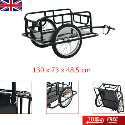 Bike Cargo Trailer Steel Bicycle Cycling Camping Luggage Tool Carrier Black • 68.49£