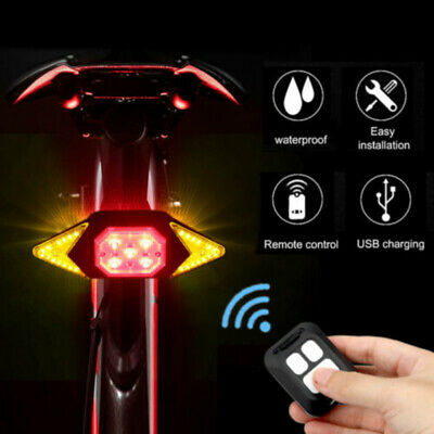 LED Bicycle Indicator Bike Rear Tail Laser Turn Signal Light USB Wireless Remote • 12.39£