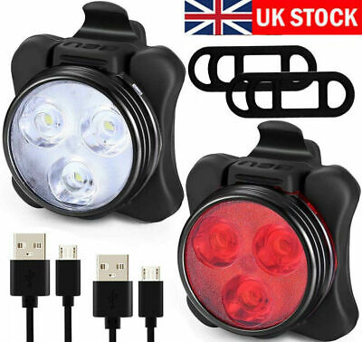 Bike Light Set, Super Bright USB RECHARGEABLE Bicycle Lights, Waterproof IPX4 UK • 6.99£