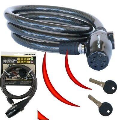 Dunlop Heavy Duty Bike Cable Lock With Built-in Alarm 95dB Bicycle Extra Safety • 13.79£