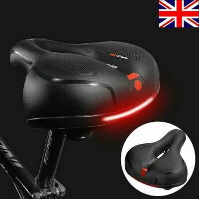 Wide Reflective Saddle Bicycle Seat Pad Comfort Padded Mountain Bike Gel Saddle • 10.98£