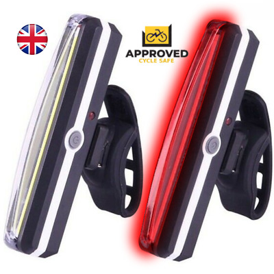 Rear Bike Lights Back Bicycle Light Set LED Front USB Rechargeable Waterproof UK • 8.99£
