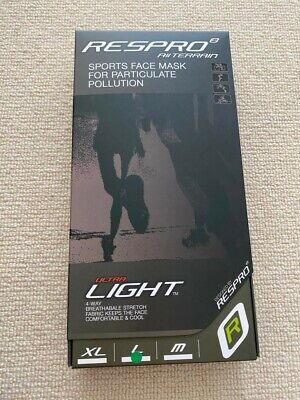 Respro Ultralight Cycling Mask In Black (Large) - New & Sealed • 49£