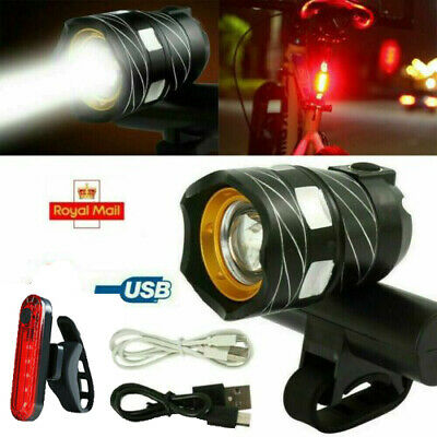 Bicycle Bike Lights MTB Rear/Front Set 15000LM Headlight USB Rechargeable CA • 3.99£